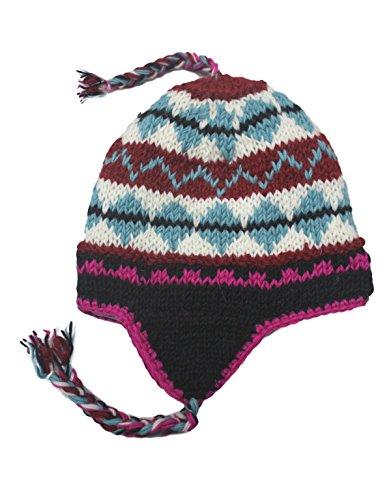 Sherpa Designs Hand Knit Unisex WOOL Beanie Hat Ear Flap Fleece Lined Nepal (Light ()