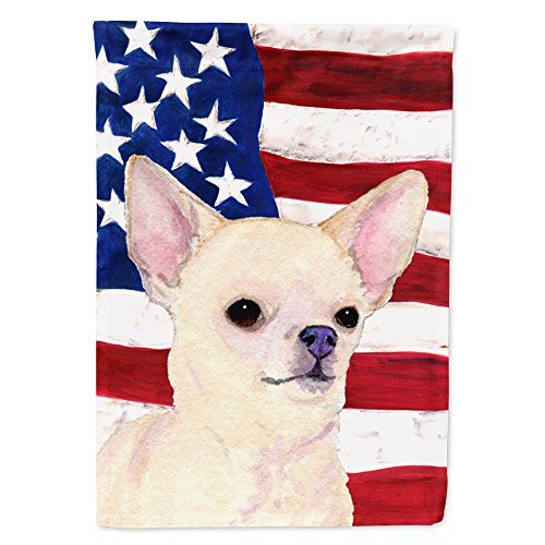 Caroline's Treasures SS4228CHF USA American Flag with Chihuahua Flag Canvas, Large, Multicolor