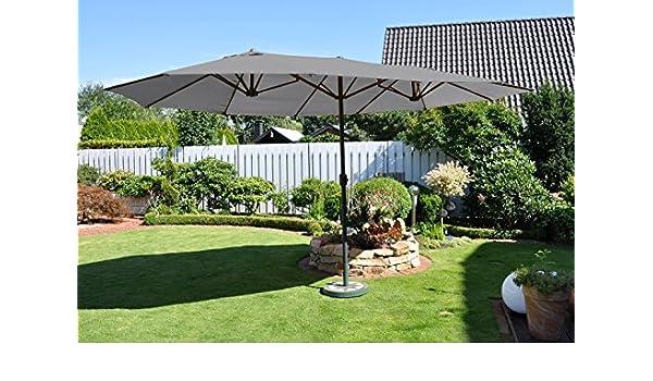 XL Leco ovalado sombrilla 2, 70 x 4, 60 m Jardín Mercado pantalla Protección Solar gris: Amazon.es: Jardín