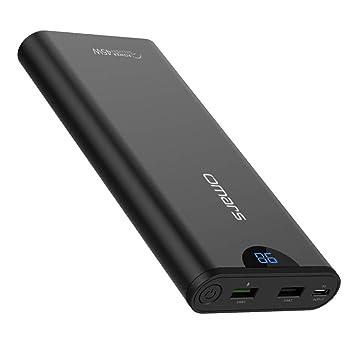 Omars 20000mAh Batería Externa Banco de Energía con USB C Carga de Energía PD 45W, USB 3.0 QC Carga Rápida para iPhone X/8/8 Plus, Sumsung Galaxy ...