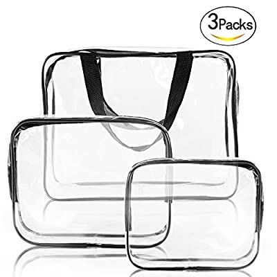 Clear Makeup Bags, YOPO 3 Pack Travel Toiletry Cosmetic Bag Portable Waterproof PVC Organizer Case for Men & Women(Large/Medium/Small)