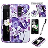 LG K7; LG TRIBUTE 5; LG ESCAPE 3 Case, Phonelicious (Tm) [Heavy Duty][Shock Absorption][Drop Protection][Hybrid Armor]Rugged Impact Phone Tuff Robust Cover + Screen Protector & Stylus(PURPLE HIBISCUS)