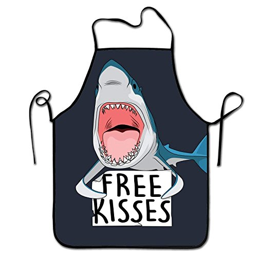 NVJUI JUFOPL Adjustable Professional Apron Kitchen Free Kisses Shark Whale Woman Aprons Comfortable Perfect For Cooking Guide ()