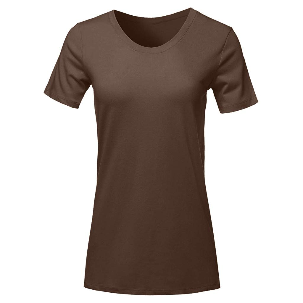 Fashion Womens Tops Short Sleeve Round Neck T-Shirt Casual Loose Solid Blouse (L, Brown)