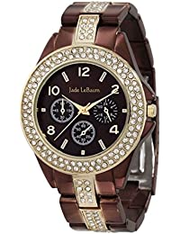 Womens Chocolate Brown Watch Large Face Rhinestone Accent Bracelet Jade LeBaum - JB202747G