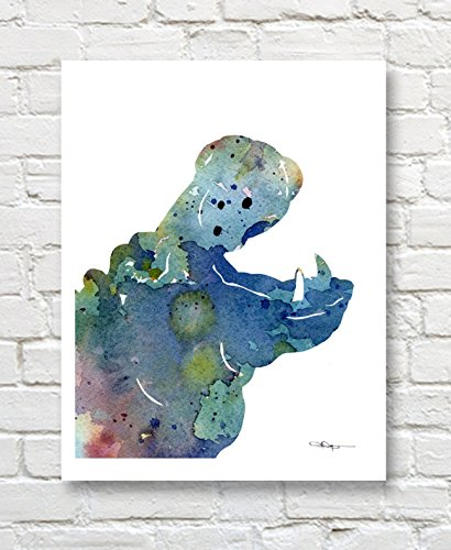 - Blue Hippo Abstract Watercolor Nursery Art Print by Artist DJ Rogers