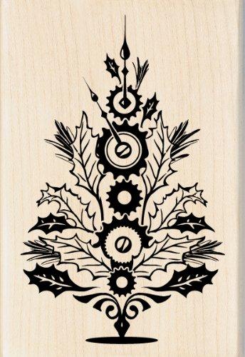 Inkadinkado Steampunk Christmas Tree Wood Stamp for Decorating Christmas Cards, 2.75'' L x 4'' W ()
