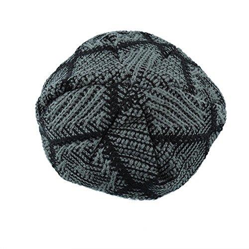 aire sombrero al invierno Mens moda forrado de dark libre oscuro punto grueso enrejado esquí gray Baggy suave gris caliente Gorro nzvRxYz
