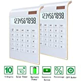 Desktop Calculator, BESTWYA 10-Digit Dual Power Handheld Desktop Calculator with Large LCD Display Big Sensitive Button (New White, Pack of 2)
