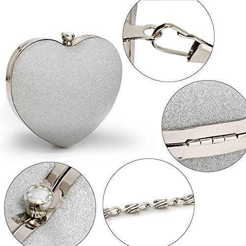 FREE Clutch Stunning Silver Hardcase Bag UK Glitter DELIVERY Heart 4wIwqYg