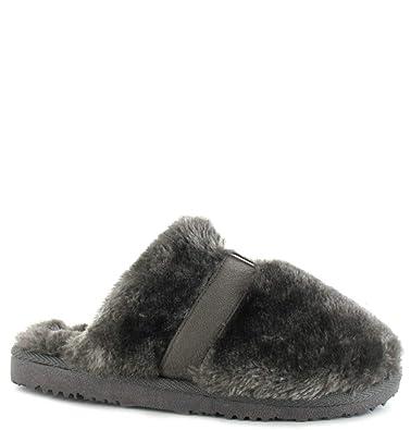 6874051411eff Ella Shoes Womens Girls Jenny Faux Fur Mule Slippers Memory Foam Cosy   Amazon.co.uk  Shoes   Bags