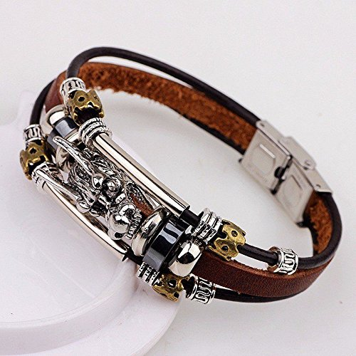 - 2016 Tibetan silver men leather bracelet fashion male vintage dragon Multilayer