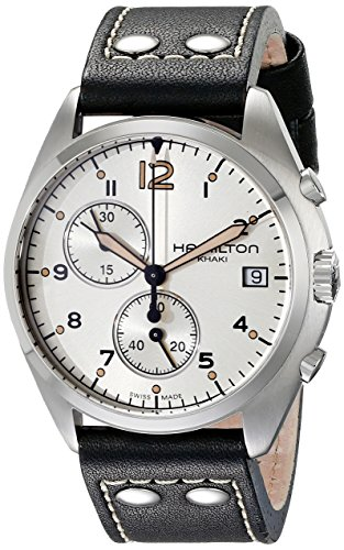 Hamilton Men's H76512755 Khaki Aviation Stainless Steel Watch with Black Genuine Leather Band
