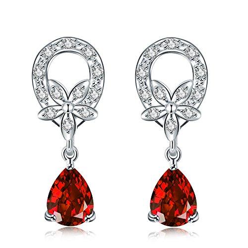 Red Water Droplet Earrings