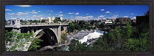 Monroe Street Bridge with city in the background, Spokane, Washington State, USA by Panoramic Images Framed Art Print Wall Picture, Espresso Brown Frame, 39 x 14 (Spokane Washington Usa Framed)