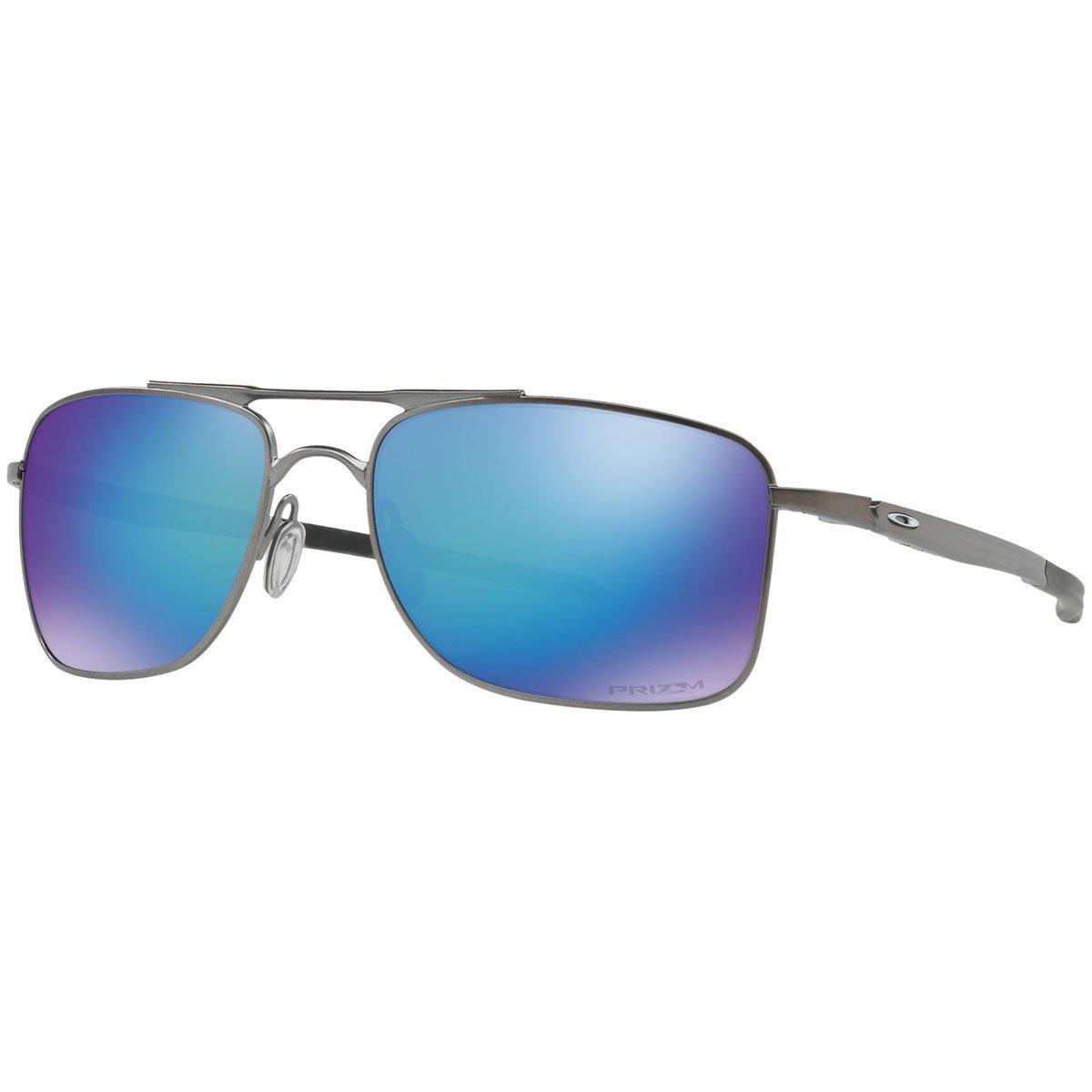 Oakley Men's OO4124 Gauge 8 Rectangular Metal Sunglasses, Matte Gunmetal/Prizm Sapphire Polarized, 62 mm by Oakley