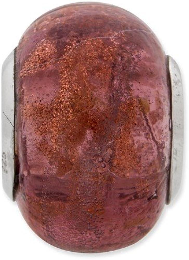 Jewelry Beads Glass Beads Sterling Silver Reflections Purple Italian Murano Bead