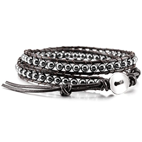 - MOWOM Alloy Genuine Leather Bracelet Bangle Cuff Rope Simulated Hematite Bead Wrap Adjustable