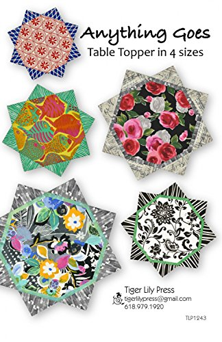 Anything Goes Table Topper Quilt Pattern in 4 Sizes, Fat Quarter Friendly