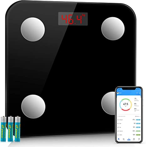 2020 Smart Scale Bluetooth Body Weight Fat BMI Digital Electronic Fitness Black