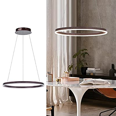 Diborui Modern Warm White Acrylic Pendant Light Led Chandelier Round Ceiling Light Fixture Flush Mount with 1 Ring for Bedroom, Living Room, Dining Room, Kitchen