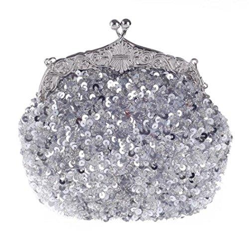 Sac Rétro à Sac Main Silver Perlé Paillettes De Sacs Cheongsam Pochette WLFHM Soirée Femmes xfpnII