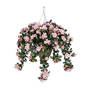 House of Silk Flowers Artificial Pink Azalea in Cone Hanging Basket 4