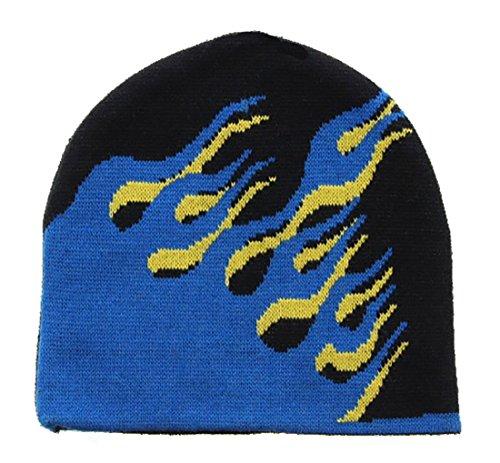 lames and Fire Knit Beanie Cap Ski Snowboard Hat (onesize, blue black) (Snowboard Ski Hat)