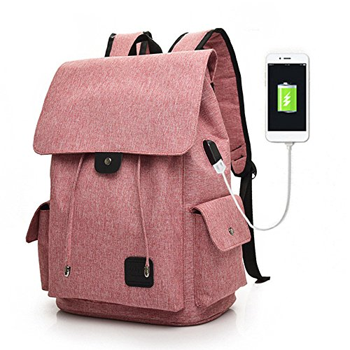 Business Laptop Backpack Bookbags 15 Inch - GinkgoTree Girls Women Casual Travel Daypack with USB Charging Port for School, Office, Hiking, Shopping (Pink)