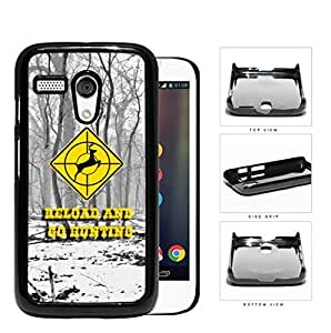 Reload and Go Hunting Yellow Deer Target Sign with Snow Forest Background Motorola (Moto G) Hard Snap on Plastic Cell Phone Case Cover