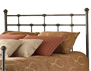 Dexter Metal Headboard with Decorative Castings and Globe Finials, Hammered Brown, Queen