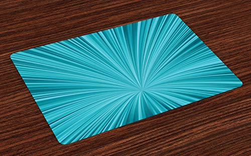 Ambesonne Teal Place Mats Set of 4, Abstract Vortex Design with Fireworks Celebration Stylized Monochrome Artwork, Washable Fabric Placemats for Dining Room Kitchen Table Decoration, Turquoise Teal