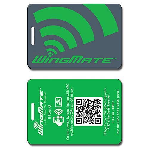 WingMate Traveler Passive Tracking Smart Luggage Tag with web app! (Green) (Best Data Recovery App)