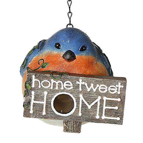 CEDAR HOME Hanging Bird Houses Outdoor Garden Patio Decorative Pet Cottage Resin Birdhouses, Blue