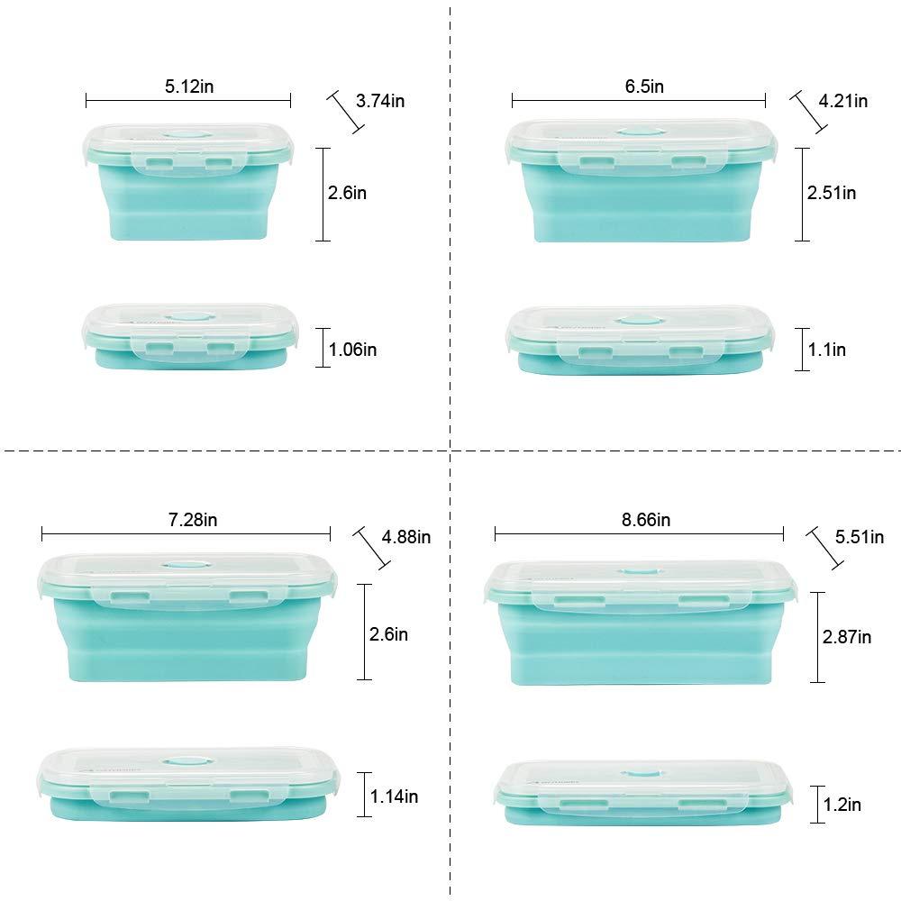 B2- Colore chiaro Contenitori pieghevoli in silicone 4 PCS Pranzo del Silicone Pieghevole Silicone Pieghevole contenitori per Alimenti Silicone Pieghevole Lunch Bento Box pranzo box Risparmio