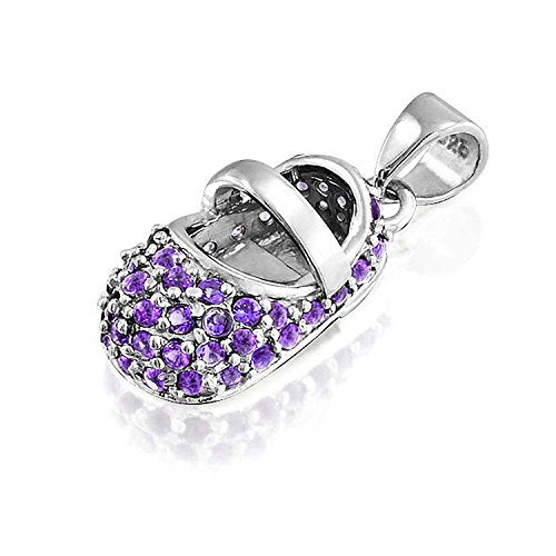 Simulated Amethyst Baby Shoe Sterling Silver Pendant