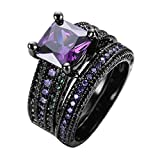 Best  - Rongxing Jewelry Ring Sets Purple Cz Couple Black Review