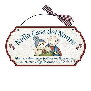 Targa targhetta decorativa country legno per porta con frasi ZII NIPOTE