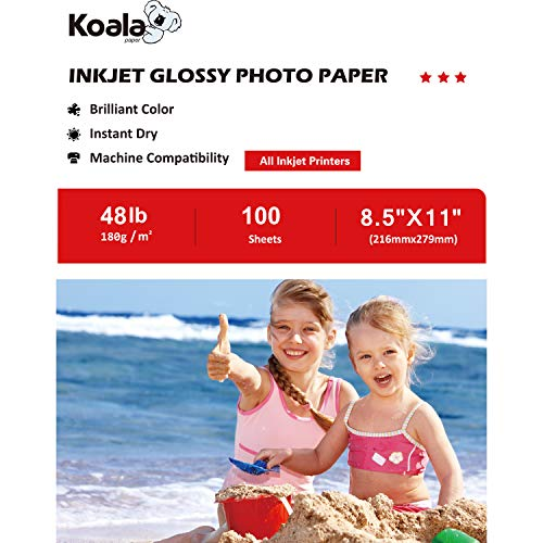 Koala Glossy Photo Paper 8.5x11 Inches 180gsm 100 Sheets Compatible with All Inkjet Printer (Inkjet Glossy Paper)