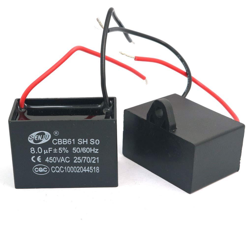 CBB61 condensateur à film AC 450V 4,5uF 2-fils PP métallisé Pour ventilateur