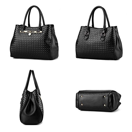 Women Golden 3pcs Tote Leather Weave Bag Tibes Shoulder Bag B PU Purse Handbag Fashion OtSSqB