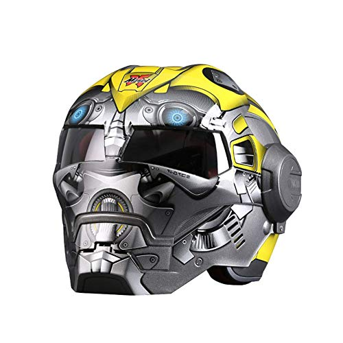 SYANG Motorcycle Helmets, Full Face Touring Motorcycle Helmet Harley Double Lens Racing Helmet Vintage Personality Cool Helmet Iron Man Motorcycle Half Open Face Helmet ABS