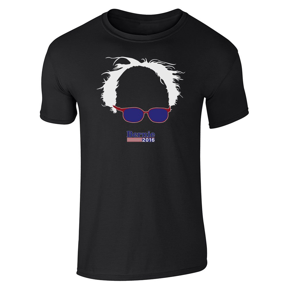 Pop Threads Bernie Sanders 2016 Hair and Glasses Campaign Black 2XL Short Sleeve T-Shirt