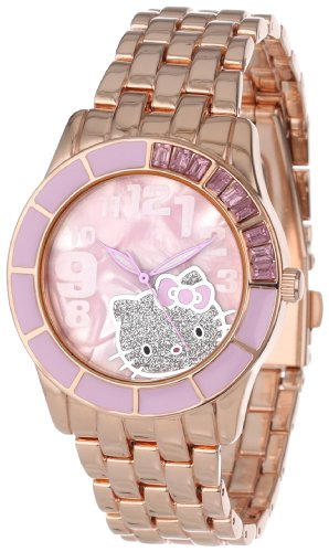 (Hello Kitty Women's H3WL1036PR Enamel Bezel Metal Bracelet Faux Mother-Of-Pearl Dial Watch)