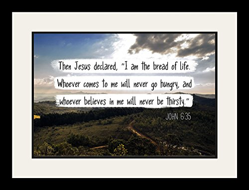 John 6:35 I am the bread of life - Christian Poster, Print, Picture or Framed Wall Art Decor - Bible Verse Collection - Religious Gift for Holidays Christmas Baptism (19x25 Framed) by WeSellPhotos
