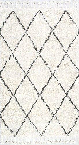 nuLOOM SPRE14A Handmade Fez Shag Rug 8 x 10 Natural