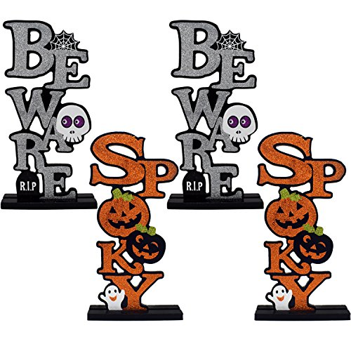 Gift Boutique Happy Halloween Decorations Table Toppers Beware and Spooky Centerpieces, Set of 4 Holiday Kid Friendly Party Decor Accessories