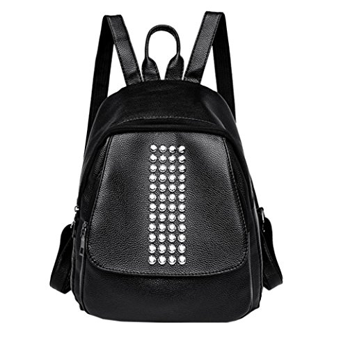 Women Rivets Leather Travel School Backpack by Sonmer