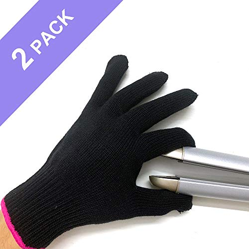Professional Heat Resistant Glove for Hair Styling Heat Blocking for Curling, Flat Iron and Curling Wand Suitable for Left and Right Hands, 2 Pieces, Pink Edge
