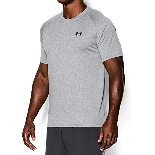 Under Armour Men's Tech Short Sleeve T-Shirt, True Gray Heather/Black, Medium
